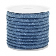 Trendy gestikt koord denim 4x3mm Regular blue