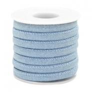Trendy gestikt koord denim 6x4mm Light blue