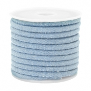 Trendy gestikt koord denim 4x3mm Light blue
