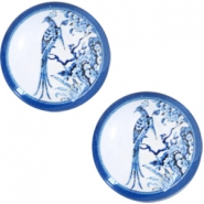 Cabochon basic Delfts blauw pauw 12mm White-blue