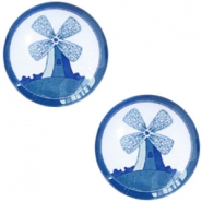 Cabochon basic Delfts blauw molen 20mm White-blue