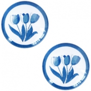 Cabochon basic Delfts blauw tulpen 12mm White-blue