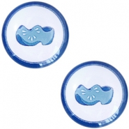 Cabochon basic Delfts blauw klompen 20mm White-blue