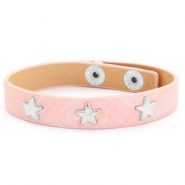 Trendy armbanden reptile met studs silver star Dusty pink