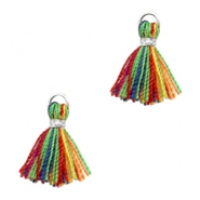 Kwastjes Ibiza style 1cm Silver-multicolour red green