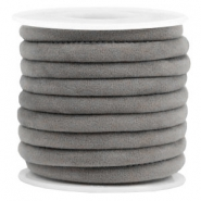 Trendy gestikt velvet koord 6x4mm Grey