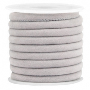 Trendy gestikt velvet koord 6x4mm Light grey