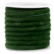 Trendy gestikt velvet koord 6x4mm Dark green
