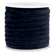 Trendy gestikt velvet koord 6x4mm Dark blue